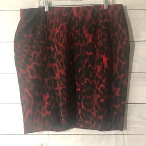 Lane Bryant Red Leopard Mini Skirt 18